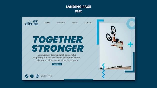 Landing page bmx shop template Free Psd