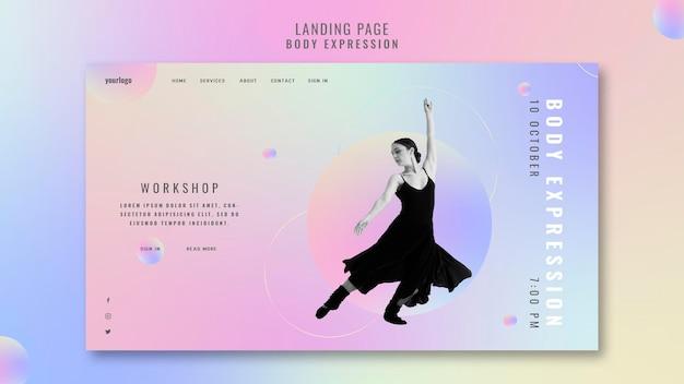 Pagina di destinazione per il workshop sull'espressione corporea Psd Gratuite