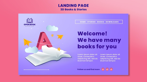 Landing page for books with stories and letters Premium Psd