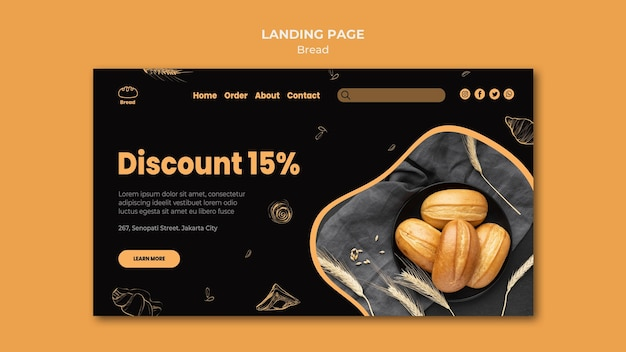 Landing page bread store template Free Psd
