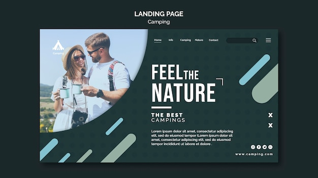 Landing page camping place template Free Psd