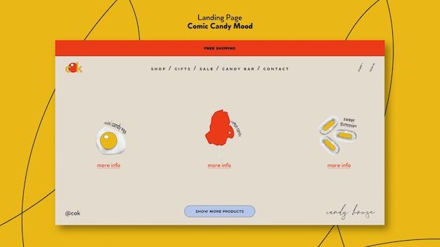 Pagina di destinazione per caramelle in stile fumetto Psd Gratuite
