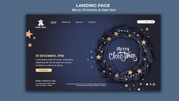 Landing page for christmas and new year Free Psd