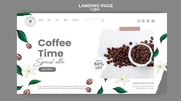 Pagina di destinazione per il caffè Psd Gratuite
