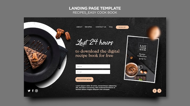 Landing page cook book template Free Psd
