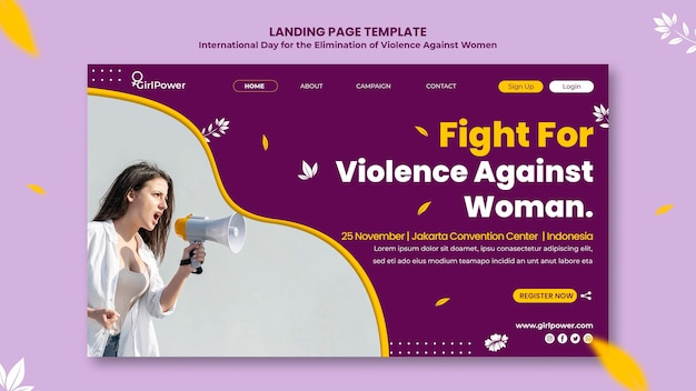 Landing page for elimination of violence against women Free Psd