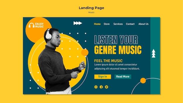 Landing page for enjoying music Free Psd