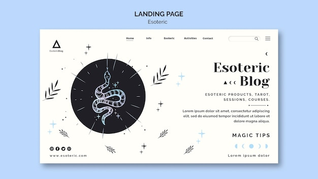 Landing page for esoteric blog Free Psd