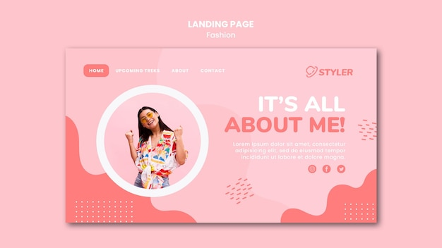 Landing page fashion ad template Free Psd
