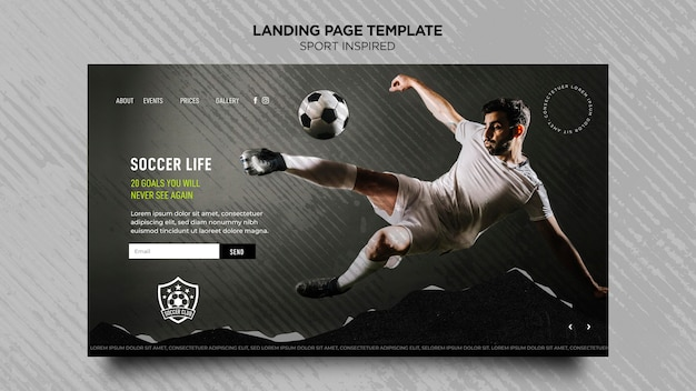 Landing page for football club Free Psd