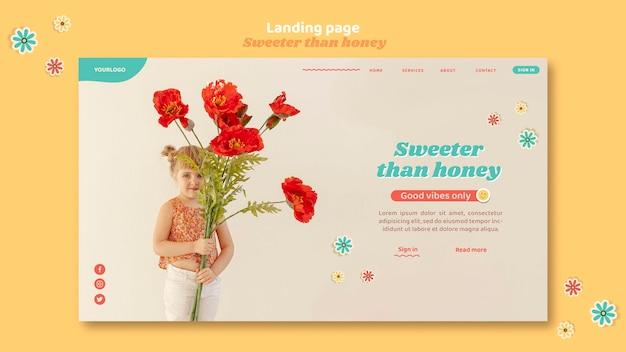 Целевая страница для детей с цветами Бесплатные Psd