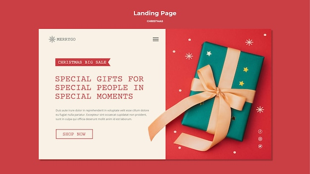 Целевая страница для рождественской распродажи Premium Psd