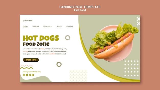Целевая страница для ресторана хот-догов Premium Psd