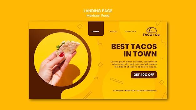 メキシコ料理レストランのランディングページ 無料 Psd