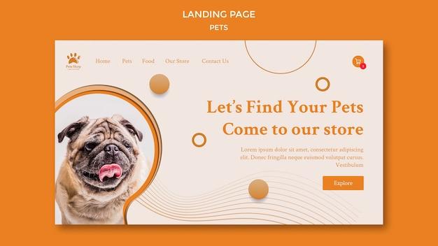반려견이있는 애완 동물 가게 방문 페이지 무료 PSD 파일