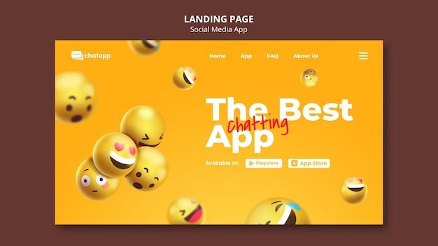 이모티콘이 포함 된 소셜 미디어 채팅 앱의 랜딩 페이지 무료 PSD 파일