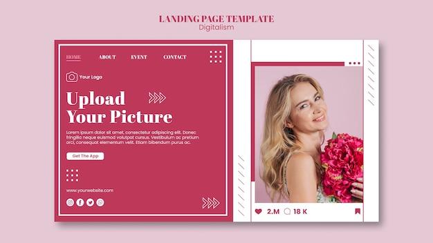 Целевая страница для загрузки фотографий в социальные сети Premium Psd