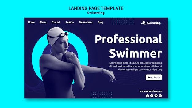 Целевая страница для плавания с пловчихой Premium Psd