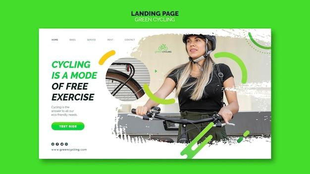 Landing page for green biking Free Psd