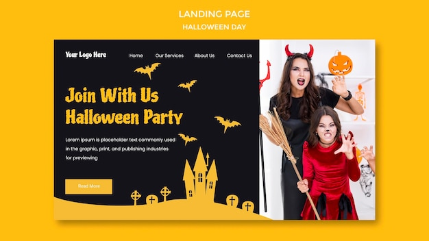 Landing page halloween party template Free Psd