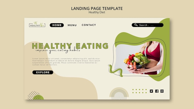 Landing page for healthy diet with vegetables Free Psd