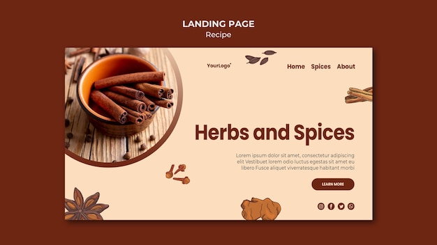 Landing page herbs and spices template Free Psd