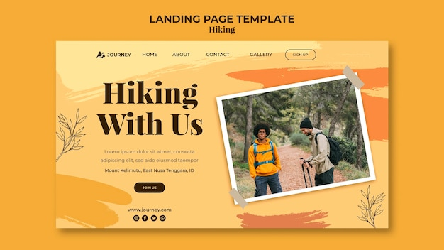 Landing page for hiking Free Psd