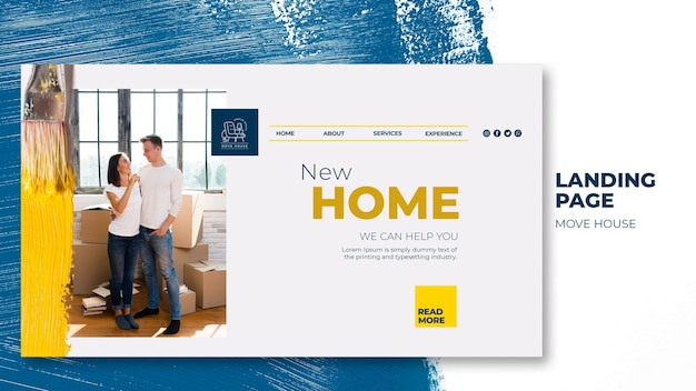 Landing page for home relocation services Free Psd