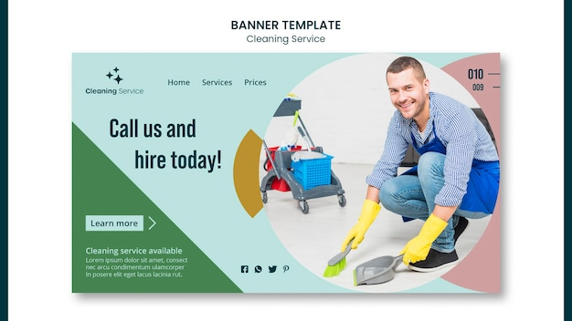 Landing page for house cleaning company Free Psd