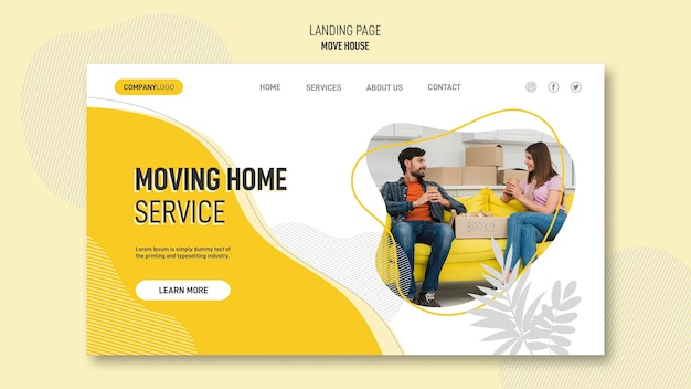 Landing page for house relocation services Free Psd