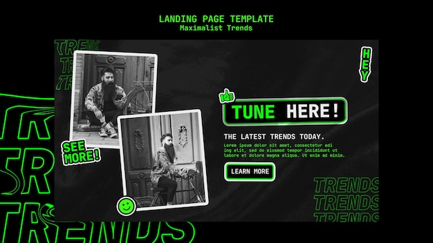 Landing page for maximalist trend Free Psd