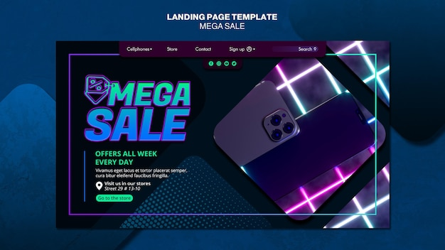Landing page for mega sale Free Psd