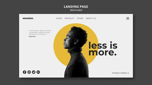 Landing page in minimal style for art gallery with man Free Psd