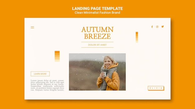 Landing page for minimalist autumn fashion brand Free Psd