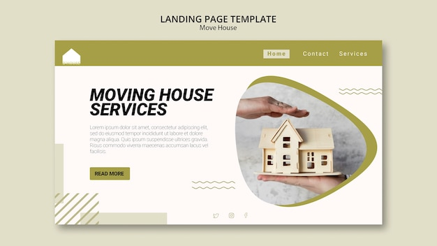 Landing page for moving house services Free Psd