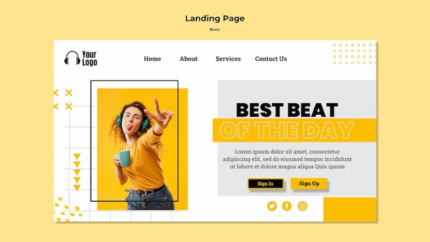 Landing page music platform template Free Psd