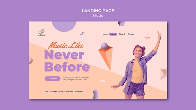 Landing page for music with woman using headphones and dancing Free Psd