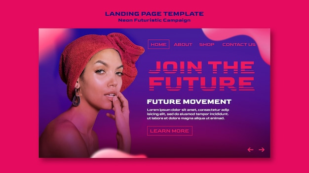 Landing page neon futuristic template Free Psd