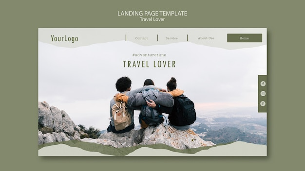 Landing page for outdoors traveling Free Psd