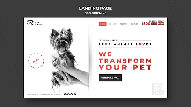 Landing page for pet grooming company Free Psd