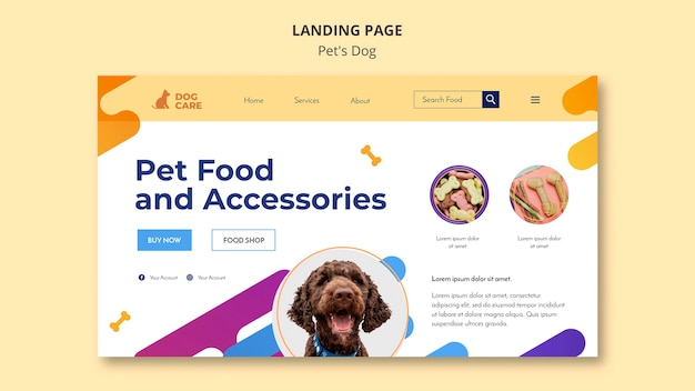 Landing page for pet shop business Free Psd