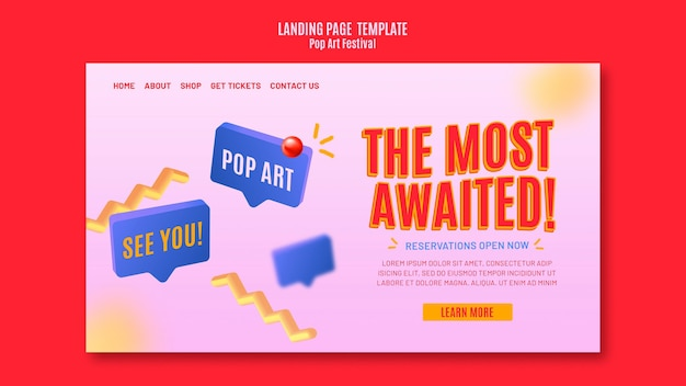 Modello di pagina di destinazione pop art festival Psd Gratuite