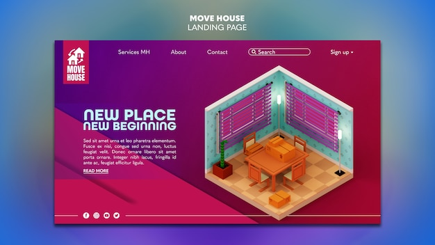 Landing page for residence relocation services Free Psd