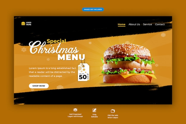 Landing page for restaurant with christmas fast food menu Premium Psd