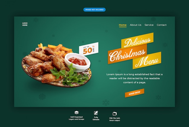 Landing page for restaurant with christmas special food menu Premium Psd