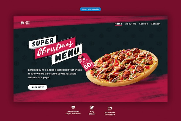 Landing page for restaurant with christmas special pizza Premium Psd