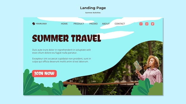 Landing page summer travel template Free Psd
