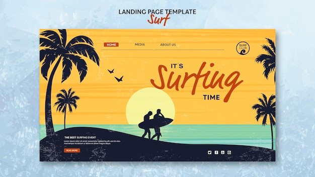 Landing page for surfing time Free Psd