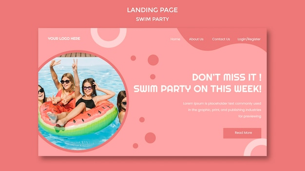 Landing page swim party template Free Psd