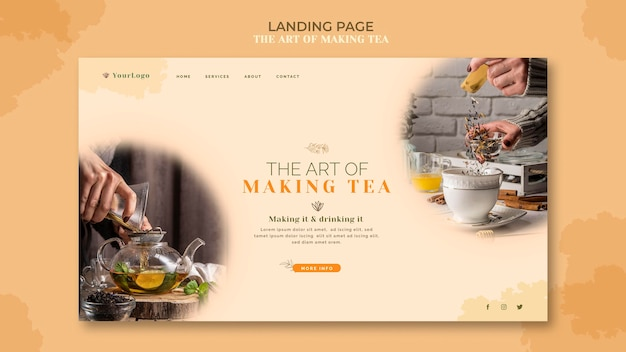 Landing page tea house template Free Psd